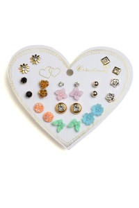 203-2-5-RER0554R2 ASSORTED SHAPE EARRINGS/12PCS