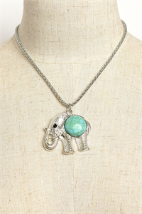 203-1-2-RNK0060TQ ELEPHANT SHAPE GEM CHAIN NECKLACES/12PCS