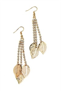 201-1-5-BER0770GS TRIPLE LEAF SHAPE STONE DROP EARRINGS/12PCS
