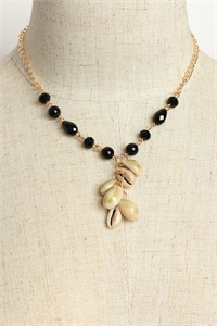 204-4-5-MS42443 STONE & SHELL CHAIN NECKLACES/12PCS