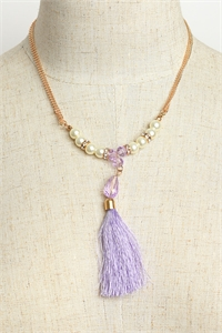 205-3-4-MS42447 PEARL & TASSEL CHAIN NECKLACES/12PCS